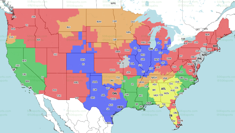 Saints Television Coverage Map | TigerDroppings com