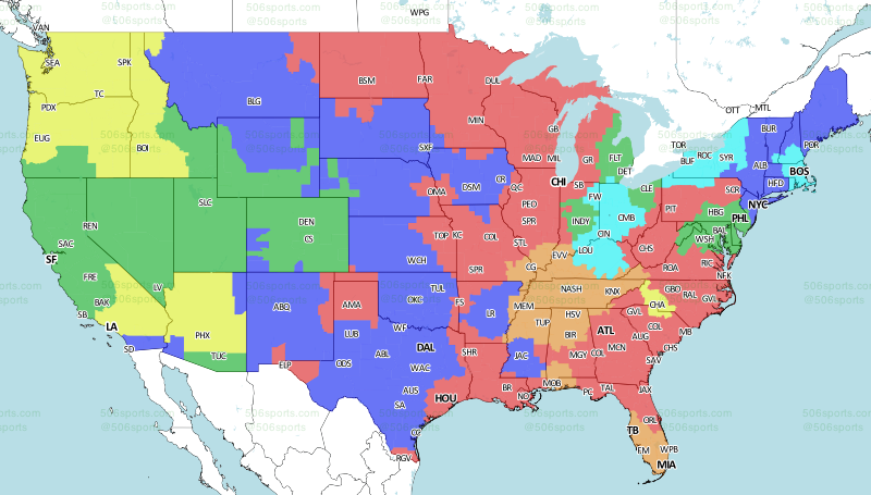 Map Of Televised Nfl Games By State Oct 8 2017