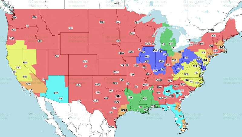 NFL TV Distribution Map : Week Six, 2017. 49ers at Redskins