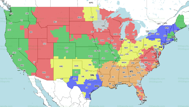 NFL TV Schedule and broadcast map for Week 3, 2018