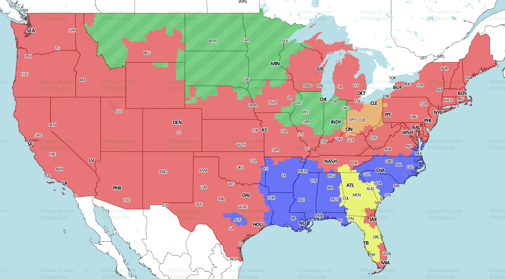 NFL Week 17 Game Maps And Television Channels