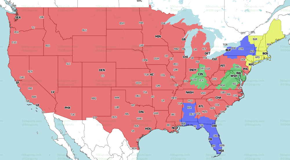 NFL on CBS Regional TV Map for week 17 of the 2020 NFL Season Early Games