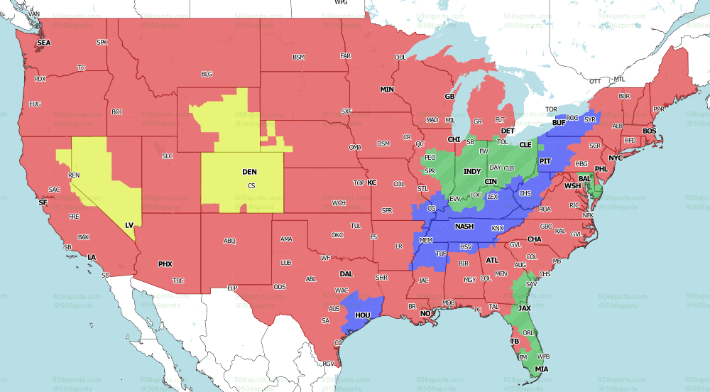 NFL on CBS Regional TV Map for week 17 of the 2020 NFL Season Late Games