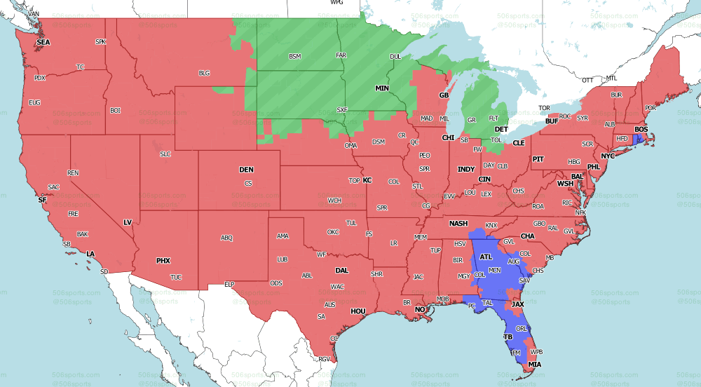 NFL on Fox Regional TV Map for week 17 of the 2020 NFL Season Early Games