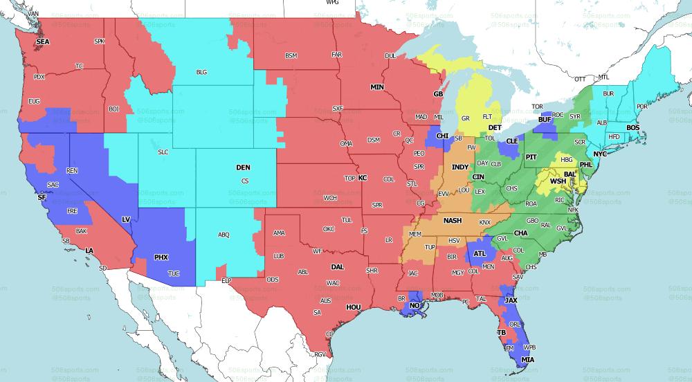 NFL on CBS Singleheader TV Map 2021