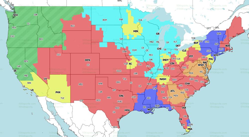 NFL on Fox Singleheader Games TV Map 2021