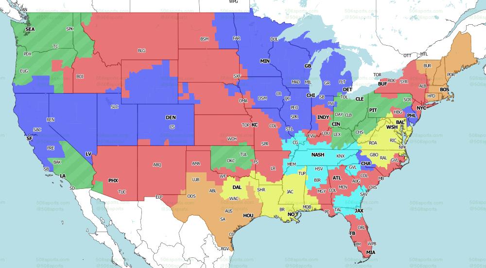2021 NFL on CBS TV Map week 5 Singleheader games