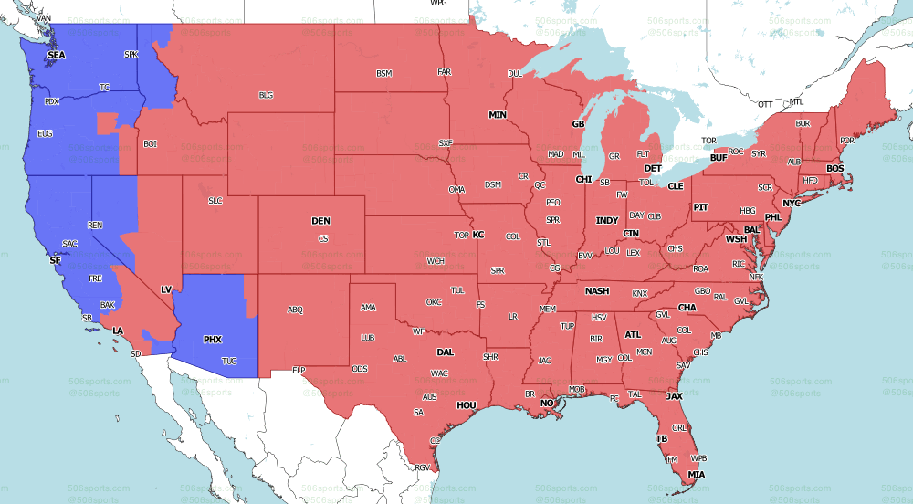 2021 NFL on Fox TV Map week 5 Late games